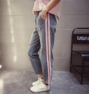 找到自己 MD 時尚 女 潮 休閒 百搭 寬鬆 鬆緊帶 割破 側杠條 牛仔褲 直筒褲 九分褲