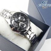EDIFICE EFV-580D-1A 計時碼錶系列 流轉時刻三眼三圈菱格紋不鏽鋼男錶 黑面 EFV-580D-1AVUDF CASIO卡西歐