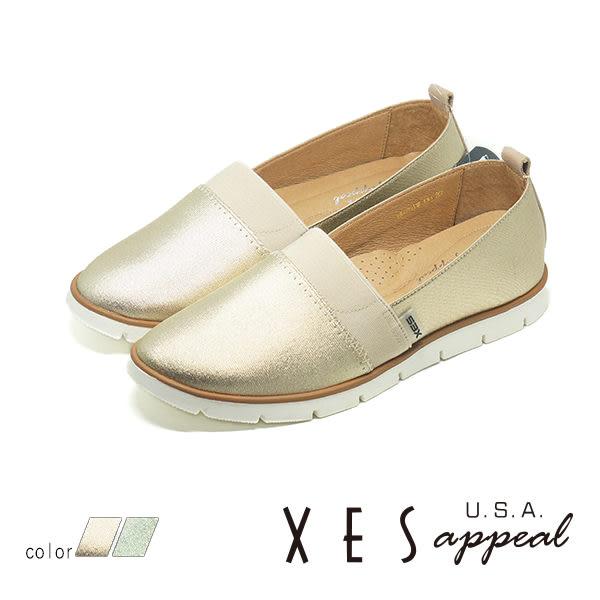 XES 女鞋 樂福鞋 閃亮閃亮 生活休閒鞋 舒適柔軟 EASY Q  懶人鞋 MIT製造 _香濱金