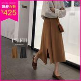 (現貨-黑)PUFII-中長裙 側開衩鬆緊腰針織中長裙 2色-1115 現+預 冬【CP15571】