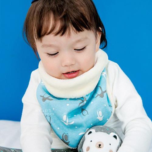 韓國藍色企鵝加絨保暖三角領巾 冬款棉感圍兜 口水巾