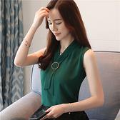 無袖洋裝吊帶背心女外穿2021夏裝新款韓版西裝內搭打底衫超仙無袖雪紡上衣