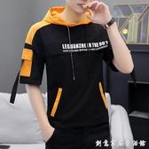 全棉男士短袖t恤夏季新款連帽T恤韓版修身潮流學生男裝外穿帽衫 雙十一全館免運