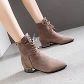 粗跟短靴 女新款春季后拉鏈裸靴加絨休閒百搭中跟柳丁馬丁靴 EY9355『棉花糖伊人』