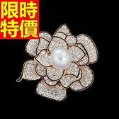 胸針 女配件-質感紳士風珍珠立體玫瑰花胸章65q6【巴黎精品】