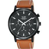 情人推薦款 ALBA雅柏 Prestige 街頭計時男錶-黑x咖啡/42mm VD53-X296J(AT3D37X1)