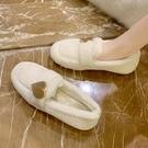 加絨豆豆鞋女毛毛鞋2020秋冬季潮鞋新款外穿懶人一腳蹬2020奶奶鞋 後街五號