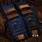 刷毛牛仔褲 秋冬季彈力男加厚寬鬆直筒大碼商務休閒男士保暖長褲子