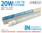 大友照明innotek LED 20W 6000K 白光 全電壓 4尺 T8玻璃日光燈管 _ IN520007
