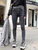牛仔褲秋季新款灰色牛仔褲女春秋百搭高腰顯瘦顯高小腳褲鉛筆褲子 易家樂