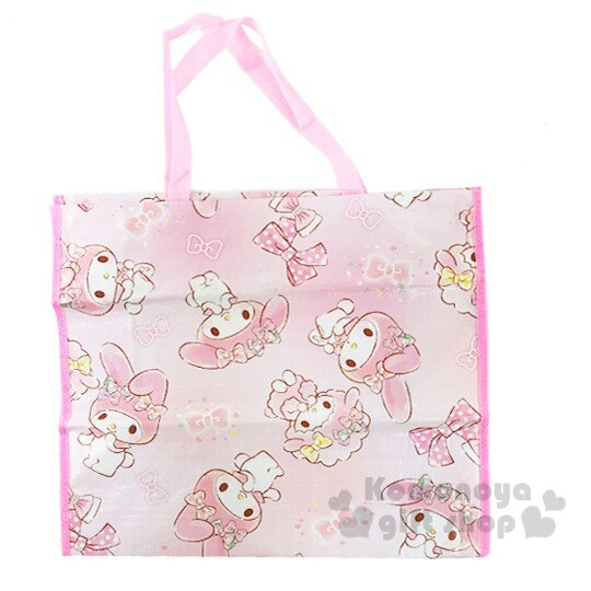 〔小禮堂〕美樂蒂 方形防水拉鍊購物袋《粉白.蝴蝶結》棉被袋.衣物收納袋 4992272-70649