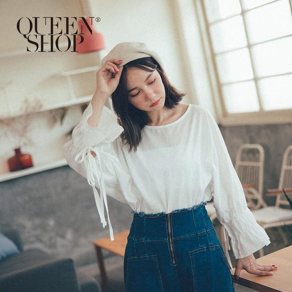 Queen Shop【01096329】袖抽繩設計感上衣 *現+預*