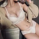 內衣兩件套 內衣女小胸聚攏無鋼圈白色文胸套裝顯大調整型收副乳蕾絲性感胸罩-Ballet朵朵