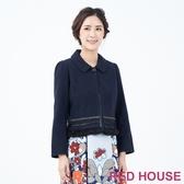 【RED HOUSE 蕾赫斯】羊毛短版大衣(深藍色)