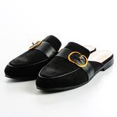 GREEN PINE 扣飾涼拖鞋-黑色