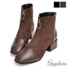 短靴 韓系前拉鍊方頭拼接絨布粗跟靴-棕