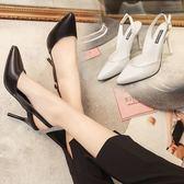 高跟鞋細跟淺口尖頭后空中跟歐美性感高跟涼鞋 優樂居