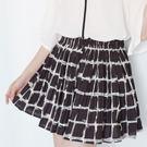 ☆NO.253 SHOP【8101】黑~全尺碼~夏季新款熱情上架~竹格文滿版印底褲裙~大尺碼