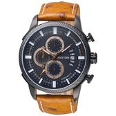 RHYTHM日本麗聲 大自然系列三眼計時手錶-黑x咖啡錶帶/46mm SI1607L03