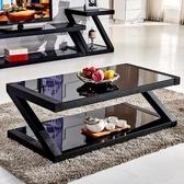 茶几-茶几簡約客廳茶桌黑色鋼化玻璃茶几餐桌兩用長方形創意小茶几桌子 限時8折