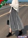 半身裙 金絲絨百褶半身裙子女秋冬季新款中長款黑色裙配毛衣網紗長裙 百分百