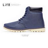 Casual 率性透氣網布 簡約七孔短靴-深藍【09757】