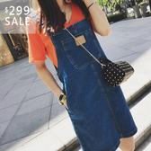 SISI【J9003】韓版復古少女顯瘦中長款寬鬆水洗吊帶背帶大口袋短裙半身裙牛仔丹寧裙