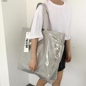 大包包女2018夏新款大容量銀灰色帆布包PVC防水手提側背托特大包