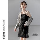 小可愛連身裙女春夏設計感小眾開叉法式收腰氣質裙子【聚物優品】