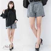 鬆緊腰格紋短褲(S-M適穿)★ 現貨快出【B7W2013】 iNio 衣著美學