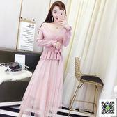 洋裝 秋裝新款女裝時尚吊帶拼接網紗打底洋裝 V領針織上衣兩件套 一件免運