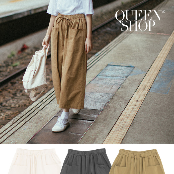 Queen Shop【04060312】雙口袋水洗寬版褲裙 三色售*現+預*