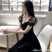 夏裝新款女絲絨洋裝網紗拼接性感名媛小香風內搭禮服小黑裙艾美時尚衣櫥
