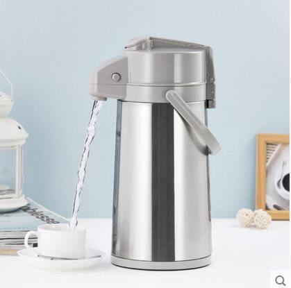 氣壓式熱水瓶家用保溫壺玻璃內膽保溫瓶【淺灰色1.6L】