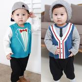 長袖連身衣 俏皮塗鴉 紳士 假兩件 爬服 男寶寶 哈衣 小紳士 小花童 Augelute Baby 61076