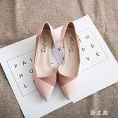 大碼高跟鞋 新款夏季尖頭細跟小跟單鞋絨面職業ol黑色工作鞋女側空3cm qz1942【野之旅】