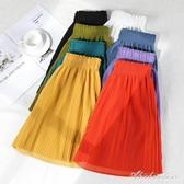 休閒短褲女2020年新款夏季網紅同款寬鬆闊腿垂感五分壓皺雪紡中褲