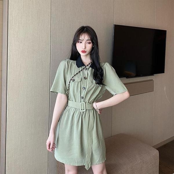 大尺碼女裝大碼胖mm港風氣質連衣裙女夏季韓版百搭撞色工裝輕熟風翻領收腰裙