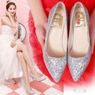 婚紗鞋女高跟婚鞋女銀色中跟新娘鞋子細跟單...