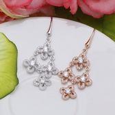耳環 925純銀鑲鑽-奢華精緻生日情人節禮物女飾品2色73dm274[時尚巴黎]