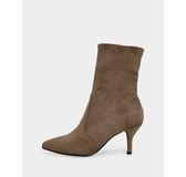 真皮短靴-R&BB質感彈性絨*歐美尖頭時髦細跟中筒襪靴-黑色/卡其