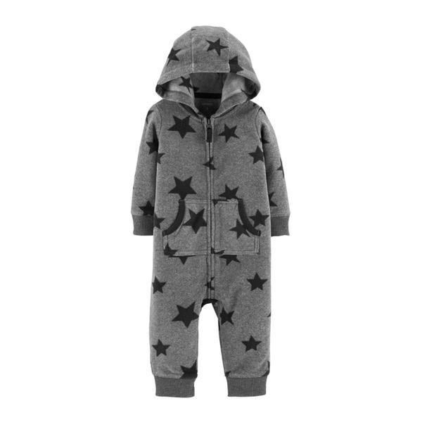 【美國Carter's】長袖連帽保暖刷毛連身衣 - 小星星 #118I418