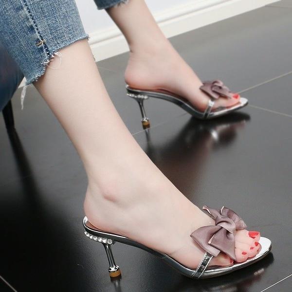 細跟高跟拖鞋 2021新款外穿時尚歐美夏季細跟水鉆結透明高跟涼鞋半拖【快速出貨八折搶購】
