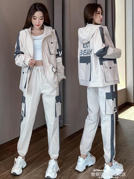 長袖運動套裝 運動套裝女秋季2021年新款工裝炸街時尚休閒兩件套學生ins 萊俐亞