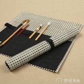 筆簾中國風捲簾筆袋中號筆簾文房四寶毛筆用輕薄透氣耐折日式風筆捲 快速出貨