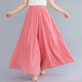 文藝大碼女褲子棉麻褲裙鬆緊腰純色薄款褶皺不規則大擺闊腿褲夏季