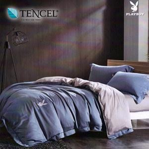 【貝兒寢飾】PLAYBOY 裸睡系列60支萊賽爾天絲兩用被床包組(加大/魅色夜影藍)