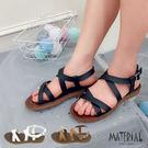 涼鞋 雙交叉平底涼鞋 MA女鞋 T8304