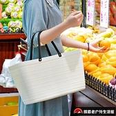環保手提購物籃野餐籃子家用塑料買菜籃子超市購物籃購物袋【探索者戶外生活館】