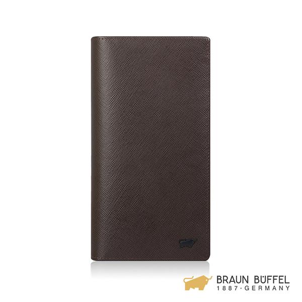 【BRAUN BUFFEL】洛菲諾P系列15卡透明窗長夾 -咖黑 BF334-300-DM